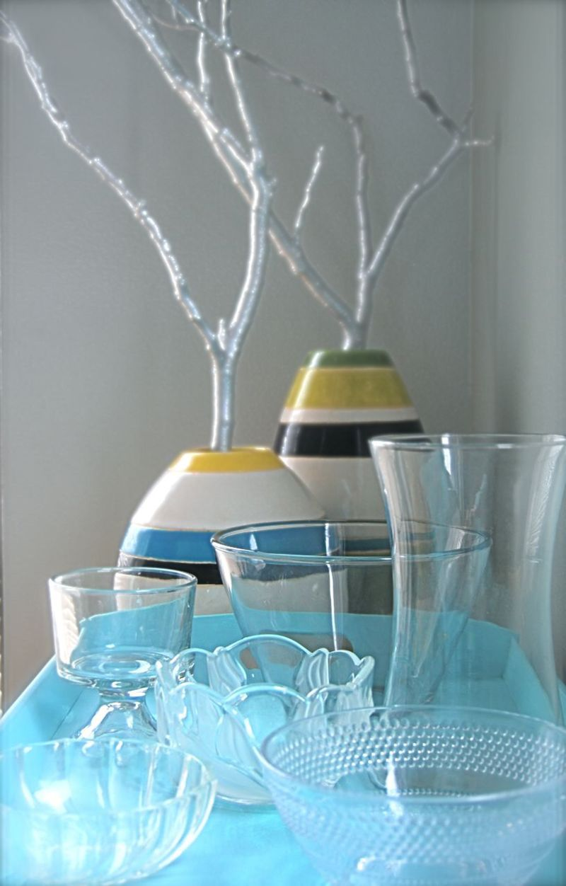 Crystal display on blue tray silver branches