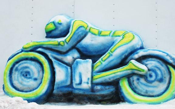 Tron snow sculpture