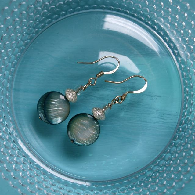 Silver-grey-blue beaded earrings