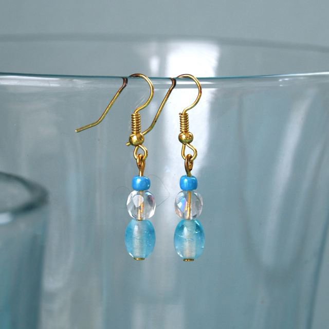 Blue bead earrings with gold